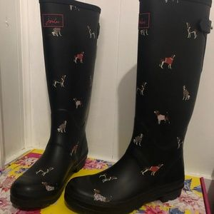 Joules Welly Dog Print Tall Rain Boot